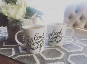 Good morning beautiful and good morning handsome coffee mugs